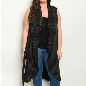 Black Plus Cardigan Vest